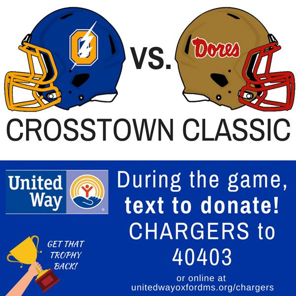 "During the game, text ""CHARGERS"" to 40403 to donate!"