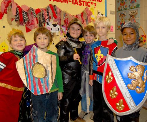 students in Medieval costumes